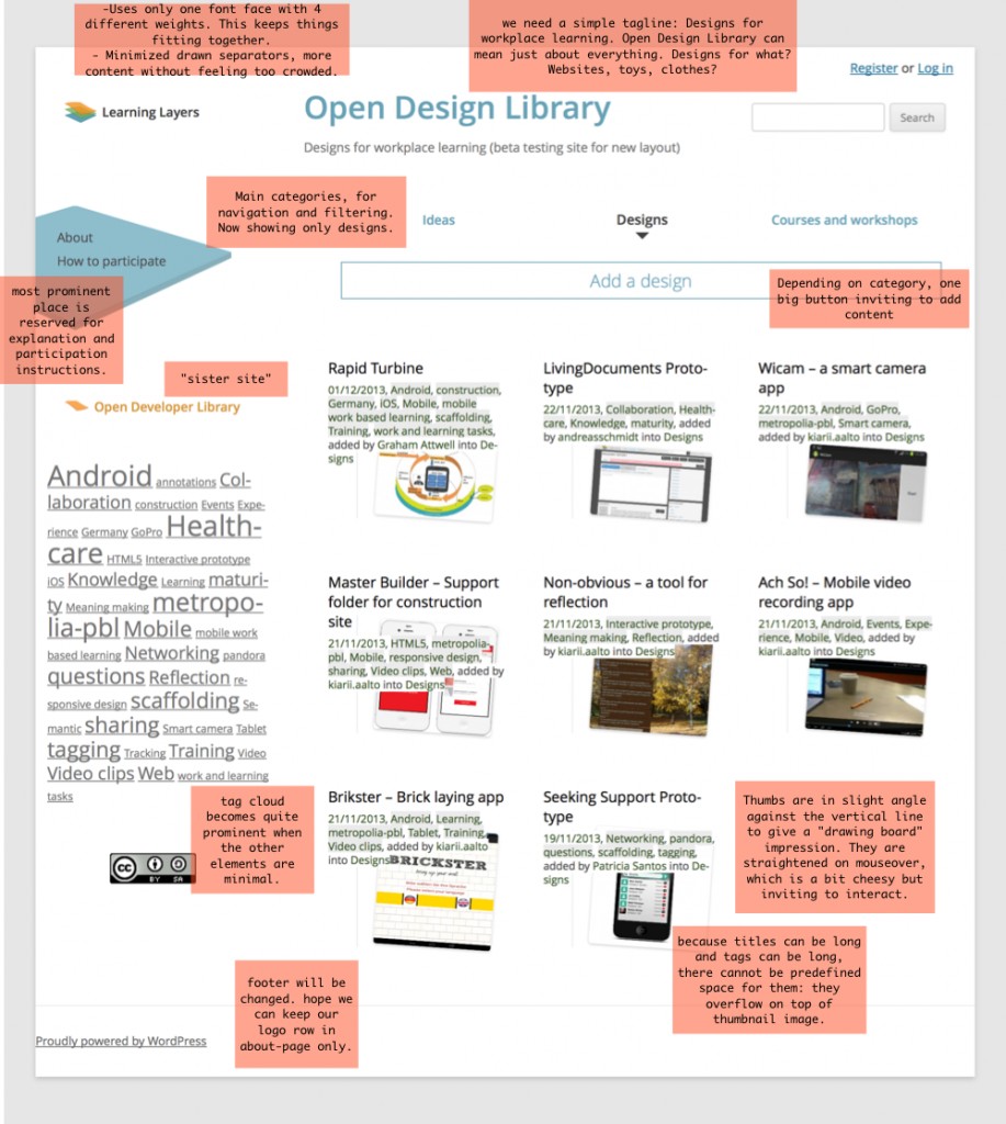 Design choices for site redesign